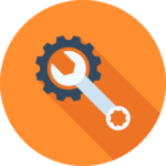 MES Software logo icon with orange background with grey and white box wrench surrounded by a blue sprocket
